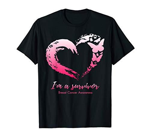 I'm Survivor Breast Cancer Awareness Pink Ribbon Butterfly T-Shirt -