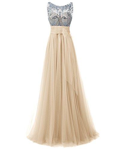 Dresstells, Robe de soirée/cérémonie/gala emperlée longueur ras du sol en tulle col rond sans manches Champagne