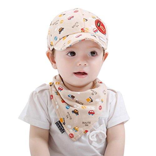 RWINDG 2PCS Baby Kleinkind Jungen und Mädchen Cartoon Hut + Infant Pinafore Bib Set Outfit Baby Mädchen Bekleidungssets Blumen Body-Kleid Kleider and Baumwolle Mantel (Beige)
