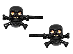 Spidy Moto Bike Black Skull Amber LED Turn Indicator Blinker Set of 2- Yamaha FZ