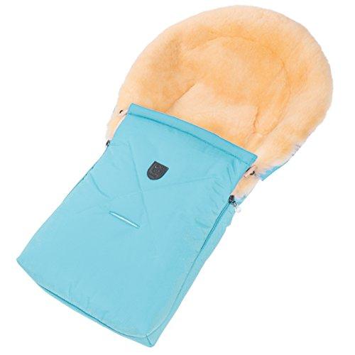 Lammfell-Fußsack für Babywanne CHRIST – universal Winterfußsack (78 x 33 cm) aus medizinischem echten Fell, auch für Tragetasche, Babyschale & Kinderwagen, in hellblau