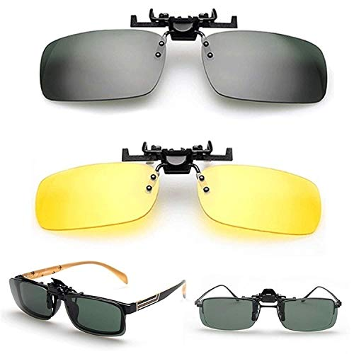 enbrille, Unisex Day Night Vision Clip-On Flip-Up Lens Sunglass Driving Glasses Practical ()