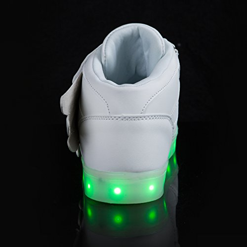 SGoodshoes Enfants Garçons Filles LED Lumineux Clignotante Baskets Chaussures Sneakers Chaussures USB Rechargeable Blanc