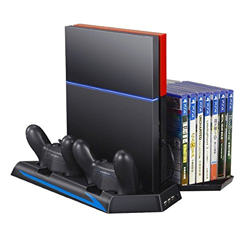 Price comparison product image Discoball® [Upgraded] 5-in-1 Multifunctional PS4 Console Vertical Cooling Stand, Dual Cooler Fan and Charging Station PlayStation 4 DualShock Controllers Holder with 14 Slot Game Disc Storage and 3 USB Hub Ports (Black)