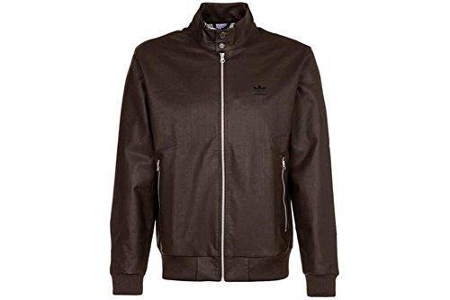 adidas Herren Lederjacke Faux Leather braun (L, Braun)