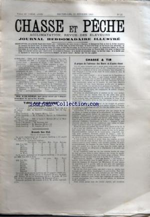 CHASSE ET PECHE [No 21] du 22/02/1903 - TIRS AUX PIGEONS - STAND D'EVERGEM - BRUSSELS GUN CLUB - CHASSE ET TIR - A PROPOS DE L'ADRESSE DES BOERS ET D'AUTRE CHOSE - LA CHIENNE SETTER IRLANDAIS CHAMPION BARONESS KERRY NELL A M. HERMAN BERTRAND DE FOREST