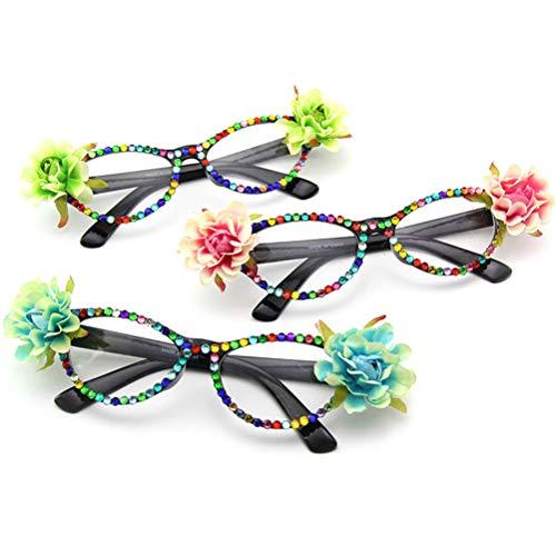 Kostüm April Blumen - Amosfun Verkleidungsbrille Sonnenbrille mit Straa und Blume für Party und Halloween, Foto-Requisiten