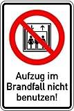 1636. Kombischild Aufzug im Brandfall nicht benutzen - KOMBISCHILD Symbol & Text Aufzug im .. - 150x100mm