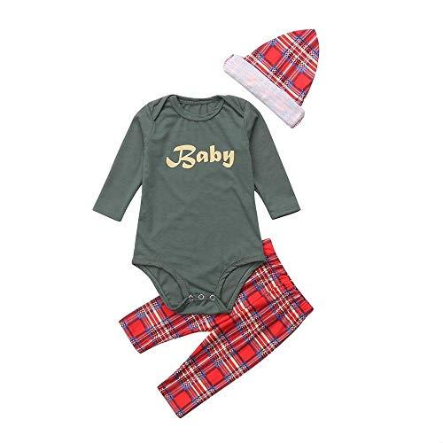 Rosennie Weihnachten Familie Pyjamas 3PCS Weihnachtsbaby Buchstabe + Hosen + Hut Spielanzug Sleepwear Kleidungs Satz Klassisch Plaid Familie Pyjamas Kleidungs für Kinder Mama Dad(Grün,80)