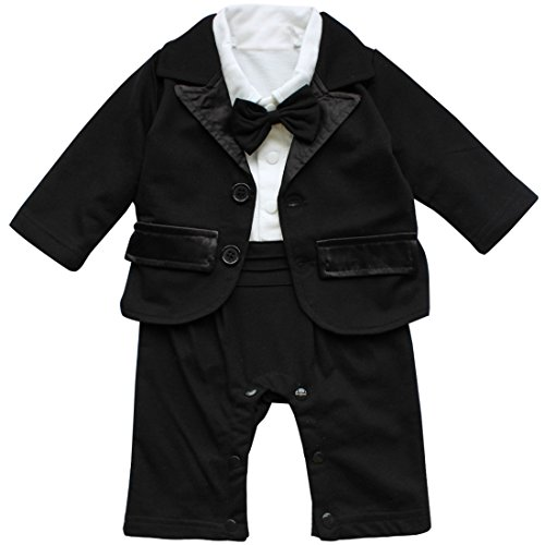 YiZYiF 2pcs Kleinkind Baby Jungen Bodysuit Tuxedo Trikotanzug Spielanzug Insgesamt Outfit mit Coat Mantel Taufe Smoking Anzug 0-24 Monate (Weiß + Schwarz, 0-3 Monate (Herstellergröße: 70))