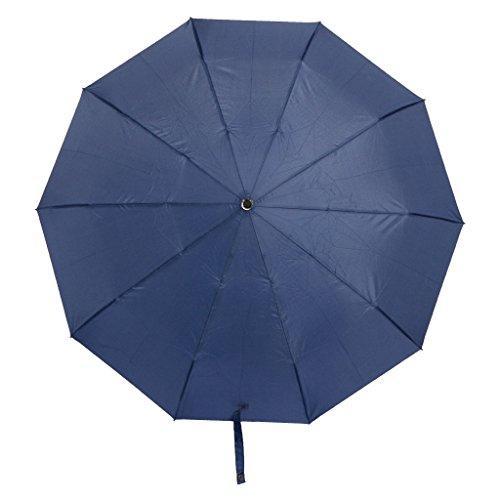 GUBENM Regenschirm Taschenschirm, Luxus Auf-Zu-Automatik Verbesserter Komfortgriff 3 Falten Regenschirm, Groß Mit 10 Edelstahl Rippen, Frauen und Männer, Leicht, Windsicher, Stabil (Dunkelblau)