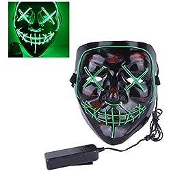 Mallalah Halloween Masque LED Lumière Froide d'horreur Drôle Cosplay Costume Masque de Purge Light up Fantôme Étape Danse Fantôme Visage Fluorescent (Unique, Vert)