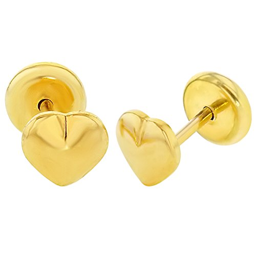 18k Yellow Gold Plated Small Plain Heart Safety Stud Baby Earrings