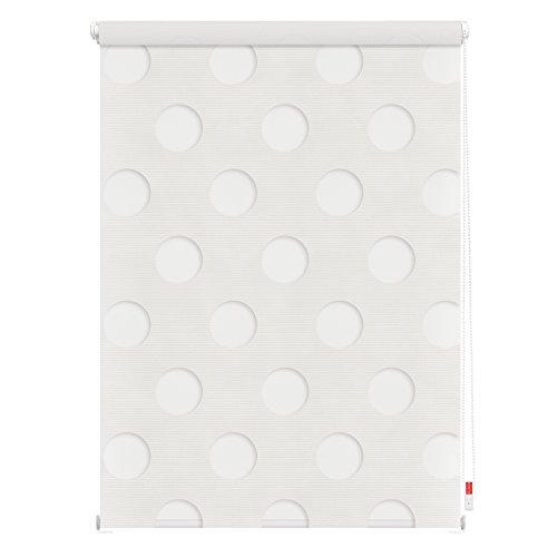 Lichtblick Duo Rollo Kreis, 80 x 150 cm in Weiß, Doppelrollo für Fenster & Türen, ohne Bohren, Jalousie & moderner Sicht- und Sonnenschutz