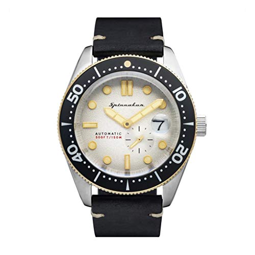 SPINNAKER Men's Croft 43mm Black Leather Band Steel Case Automatic Silver-Tone Dial Watch SP-5058-0A