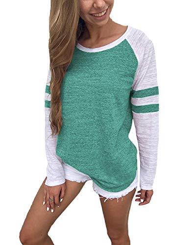 YOINS Femme T-Shirts Manches Longues Sweatshirt Décontractée Col Rond Chemisier Tops Blouse Casual Shirt De Sport, Rayures-vert, M