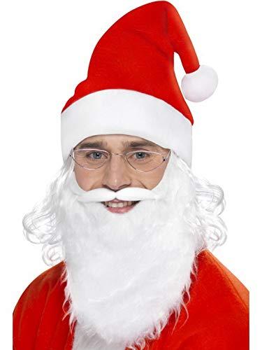 Kostüm Accessoires Zubehör Weihnachtsmann Nikolaus Set mit langem Brille Bart und Perücke, Christmas Santa Claus Kit Glasses Beard and Wig, perfekt für Weihnachten Karneval und Fasching, - Santa Kostüm Kit