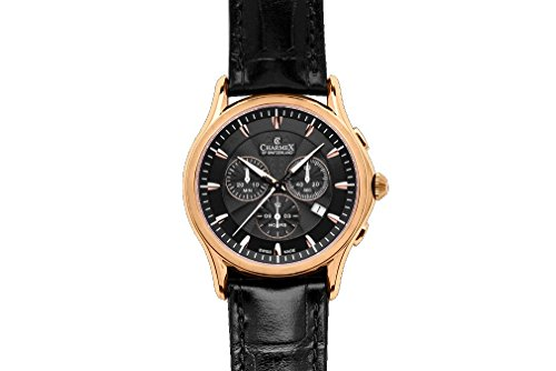 Charmex Silverstone Men's 42mm Chronograph Black Calfskin Quartz Date Watch 2676
