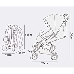 MU Comfortable Pushchairs Baby Carriages Can Sit Horizontal Umbrella Portable Folding Bidirectional Four-Wheel Shock Absorber Newborn Four Seasons Universal Optional 2 Color,Silver Grey   4
