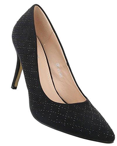 Damen Pumps Schuhe High Heels Stöckelschuhe Stiletto Schwarz Beige Rot 36 37 38 39 40 Schwarz