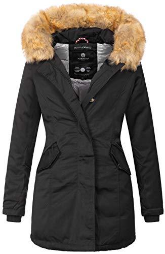 Marikoo Damen Winter Jacke Parka Mantel Winterjacke warm gefüttert B362 [B362-Karmaa-Schwarz-Gr.M] Winter Parka
