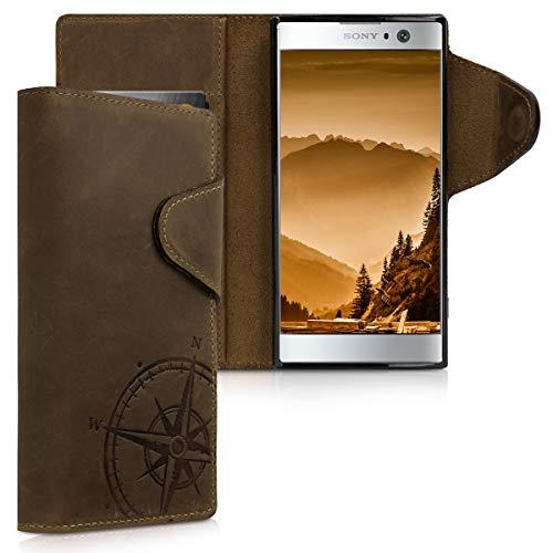 kalibri Sony Xperia XA2 Hülle - Leder Handyhülle für Sony Xperia XA2 - Handy Wallet Case Cover