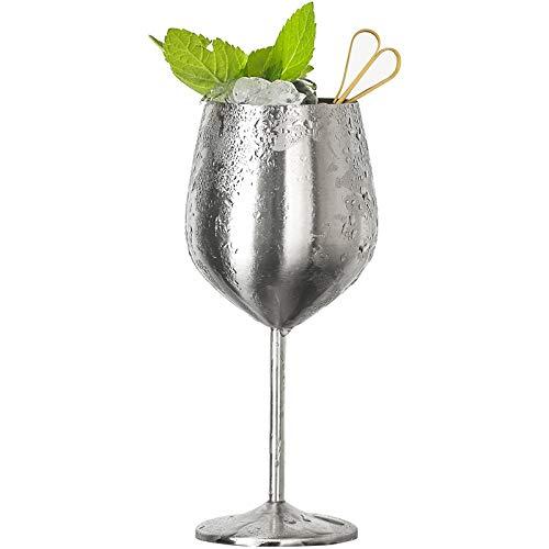 CGDZ 304 Edelstahl Rotweinglas Silber Roségold Becher Saft Getränk Champagner Becher Party Barware Whisky Cup 500ml Silber -