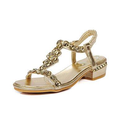 LvYuan Damen-Sandalen-Kleid Lässig-Glanz maßgeschneiderte Werkstoffe-Niedriger Absatz-Andere Neuheit Club-Schuhe-Silber Gold sliver