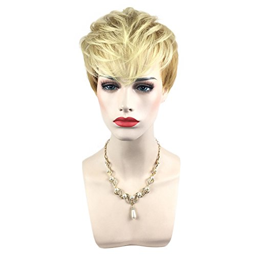 Ansenesna Perücke Blond Kurz Damen Kurzhaar Wig (Blond) (Bart Blonde Kurze)