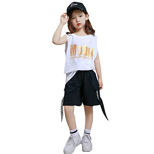 LOLANTA Kinder Mädchen Jungen Hip Hop Street Dance Kostüm Sommer Ärmellos Tank + Shorts Übergröße (Übergröße Dance Kostüm)