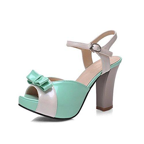 Sapatos Voguezone009 Couro Fivela Mista Cabeça Sandálias De De Verde Peixe Senhoras Cor Com De Salto Pu Alto qqtU4c