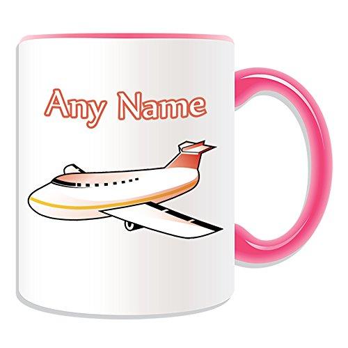 Personalisiertes Geschenk-Flugzeug Tasse (Design Thema, Farbe Optionen)-Für jede Nachricht/Name auf Ihrem Einzigartig-Blue Sky Aircraft Flight Flugzeug Flugzeug Jet Airline Aviator Pilot, keramik, rose