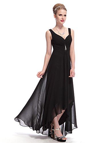 Ever Pretty Damen V-Ausschnitt Chiffon Lange Abendkleider 36 Schwarz EP09983BK04