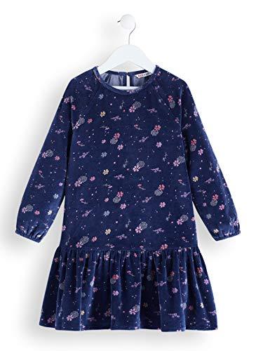RED WAGON Mädchen Printed Velvet Skater Dress Kleid, Blau (Navy), 122 (Herstellergröße: 7)