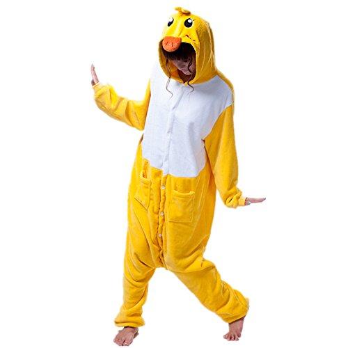Missley Einhorn Pyjamas Kostüm Overall Tier Nachtwäsche Erwachsene Unisex Cosplay (M, Yellow Duck) (Familie Duck Kostüm)