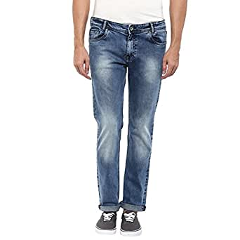 Mufti Mens Mid Blue Narrow Fit Mid Rise Jeans (28)