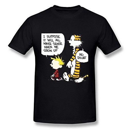 Herren\'s Calvin and Hobbes Tiger Heart schwarz T Shirt Large
