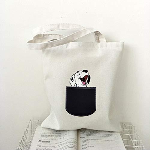NSWMDSTD Canvas Einkaufstasche faltbar,Frauen Leinwand Umhängetaschen Dalmatiner Hund Bedruckte Einkaufstaschen Casual Tuch Tote Schülerin Eco Bag Lady Wiederverwendbare Shopper Taschen