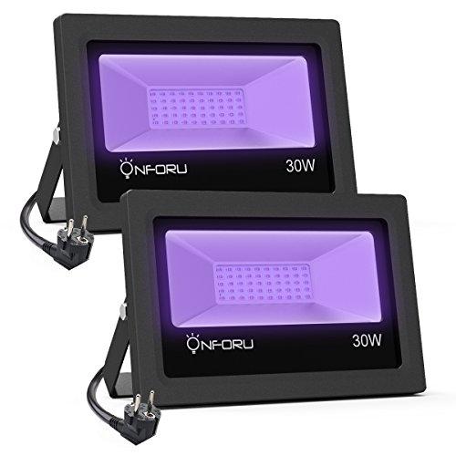 Onforu 2x UV Foco LED Proyector 30W Ultravioleta, Impermeable IP66 Lámpara de Escena Luz Negra Decoración Interior/Exterior Adecuada para Bar Club DJ Discoteca Fiesta KTV Pinta Corporal