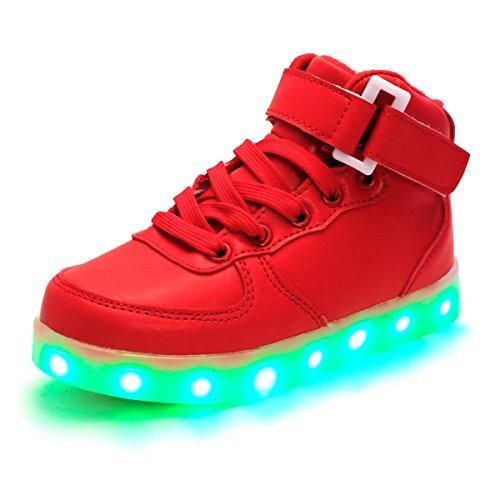DoGeek Unisex/Uomo/Donna Scarpe LED Luminosi Sneakers Scarpe con Le Luci Accendono Scarpe Uomo/Donna Sportive Rosso