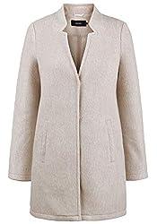 VERO MODA Mania Damen Winter Jacke Wollmantel Winterjacke Mantel Mit Reverskragen, Größe:L, Farbe:Silver Mink