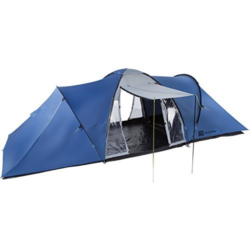 skandika harstad dome tent - 6 person, blue, with sun canopy