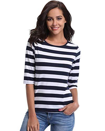 Blau Weiß Streifen Shirt (Miss Moly Blusen und Tops für Frauen T-Shirts Blaue und weiße Streifen Schöne Boot Neck Halbarm Half Sleeves Elegante Damen Striped - XS)