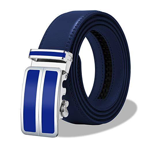 ITIEZY Cinturón Hombre de Cuero con Hebilla Automática Cinturón Casual de Piel para Caballero