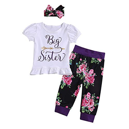 3 stücke Baby Kid Sister Familie Kleidung Kurzarm T-Shirt/Strampler + Floral Pants + Hut/Stirnband Für Große Schwester Und Kleine Schwester (Color : Big, Size : 2-3T) (T-shirts-erweiterung)