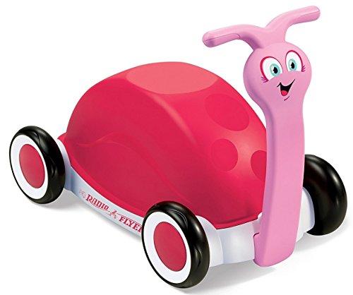 Laufwagen Schnecke. 3 in 1. Fahrrad ohne Pedale, Wagen oder Kinderwagen / Laufstuhl. Rot / Rosa.