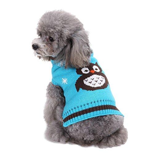 n Weihnachten Stricken Pullover Haustier Karikatur Eule Kleidung Blau M (Hund, Eule Kostüm)