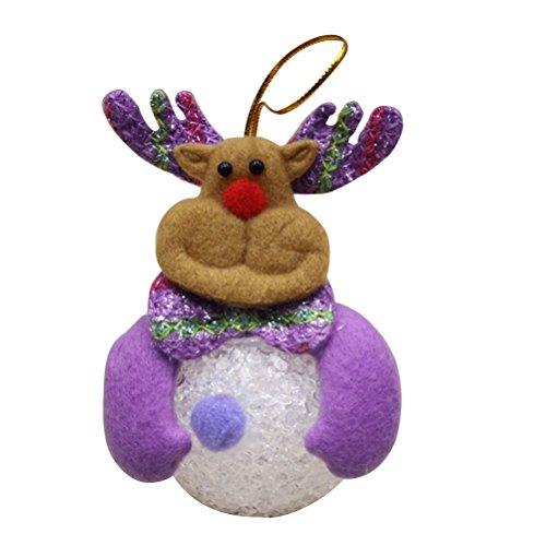 OULII Baumschmuck Christbaumanhänger LED Rentier Figur Weihnachtskugeln Weihnachtsgeschenk