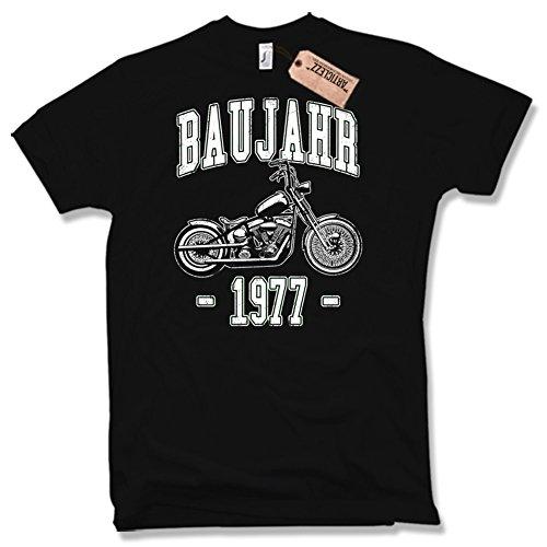 BAUJAHR 1977, Biker, 50. Geburtstag, verschiedene Farben, Gr. S - XXL Schwarz / Black