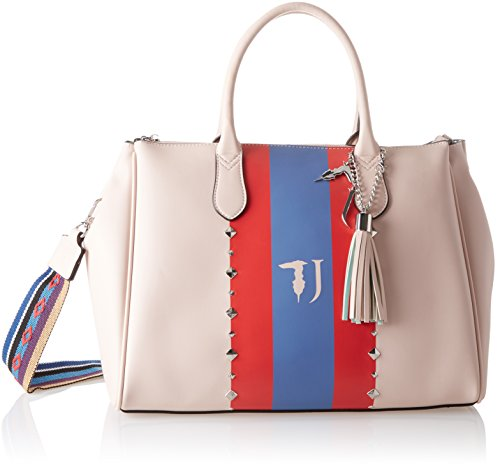 Trussardi Jeans Damen Blondie Ecoleather Print Stripes/Studs Tote Bag, Pink, 40x43x23 centimeters (Tote Stripe Pink Handtasche)